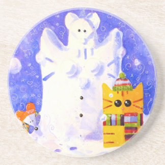 Cat, Mouse and snowman Coaster