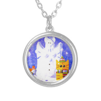 Cat, Mouse and snowman Silver Plated Necklace