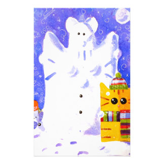 Cat, Mouse and snowman Stationery Paper