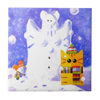 Cat, Mouse and snowman Tile