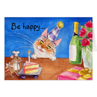 Cat & mouse birthday card