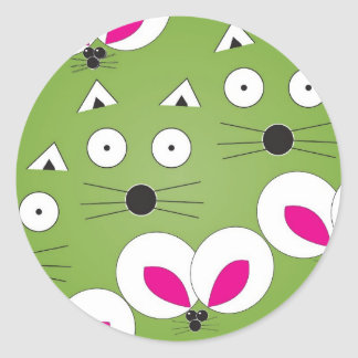 Cat Mouse Pattern Green Round Sticker