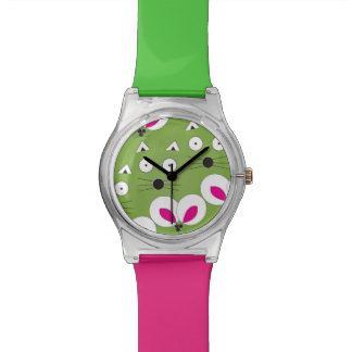 Cat Mouse Pattern Green Watch