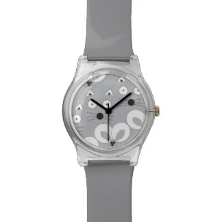 Cat & Mouse pattern grey Watch