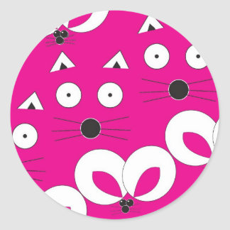 Cat Mouse Pattern Hot Pink Round Sticker