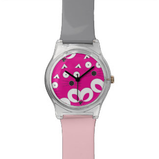 Cat Mouse Pattern Hot Pink Watch