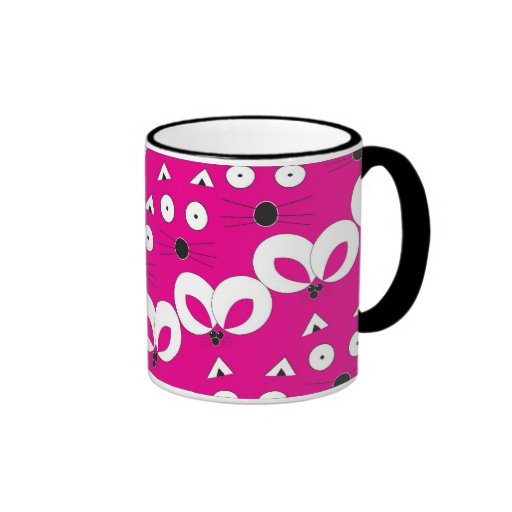 Cat Mouse pattern mug hot pink
