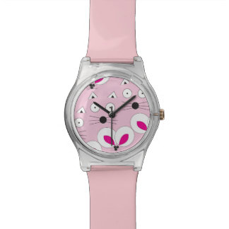Cat Mouse Pattern Pink Watch