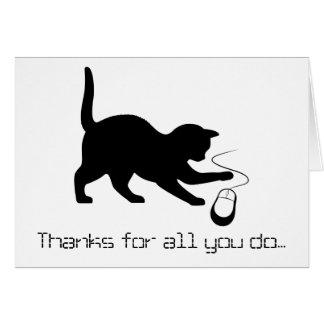 Cat Mouse Thanks Technician, Software, Programmer Card