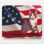 Cat Mousepad God Bless America