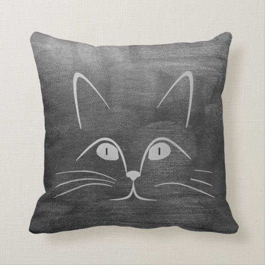 Cat Moustache Nose Eyes Grey Silver Black Paining Throw Pillow
