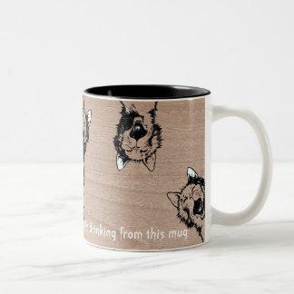 Cat Mug, Crazy Cat Two-Tone Coffee Mug
