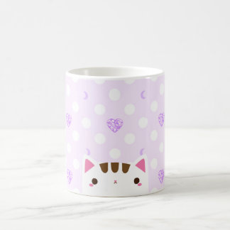 Cat mug with lilac hearts and moons