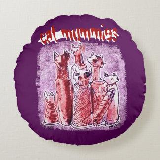 cat mummies dark and light purple twin face round pillow