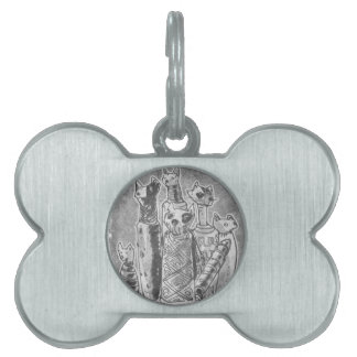 cat mummies grey pet ID tag