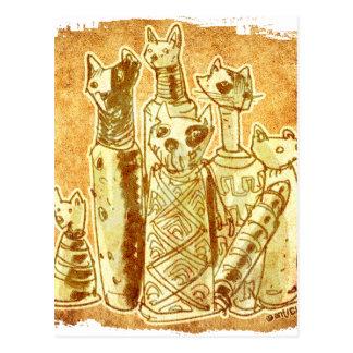 cat mummies postcard