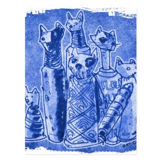 cat mummies sand blue postcard
