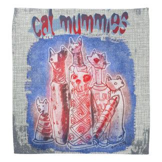 cat mummies with textured background bandana