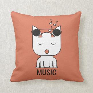 Cat Music Mode Throw Pillow