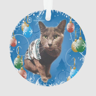Cat Named Shadow Christmas Ornament