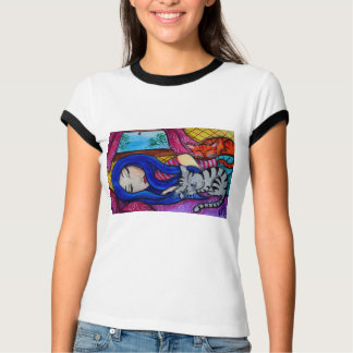 Cat Nap Folk Pop Animal Art T-Shirt