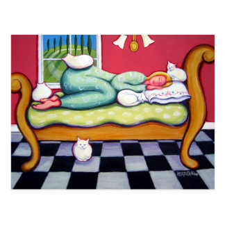Cat Napping - A Women Naps with her White Cats Postcard