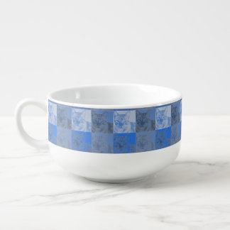 Cat Neon Blue Pop Art Soup Mug