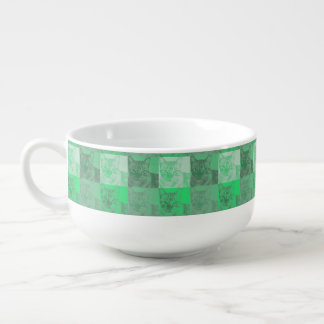 Cat Neon Green Pop Art Soup Mug