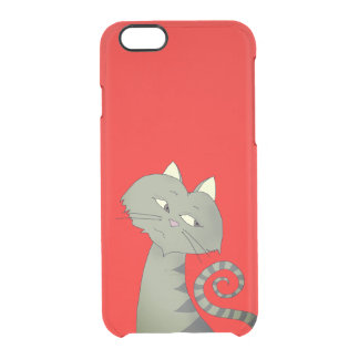 Cat Neon Red Uncommon iPhone 6 Deflector Clear iPhone 6/6S Case