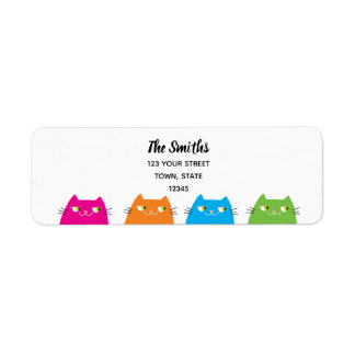 Cat Neon Vibrant Colors Funny Cool Modern Family