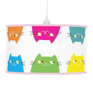 Cat Neon Vibrant Colors Funny Pattern Girly Modern Pendant Lamp