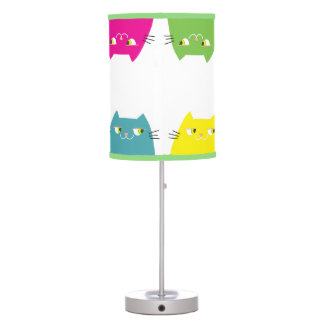 Cat Neon Vibrant Colors Funny Pattern Girly Modern Table Lamp