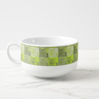 Cat Neon Yellow Pop Art Soup Mug