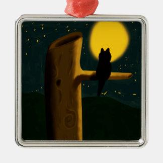 Cat night metal ornament