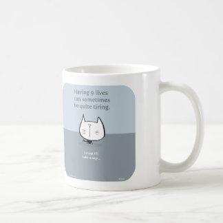 cat, nine lives, 9 lives, tiring, nap, cute cat coffee mug