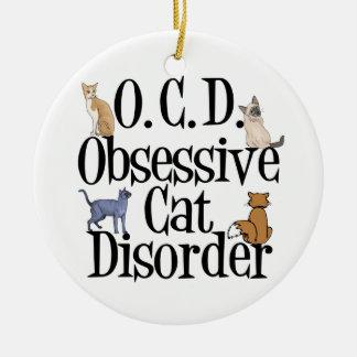 Cat Obsessed Round Ceramic Ornament