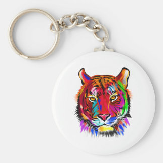Cat of many colors basic round button keychain