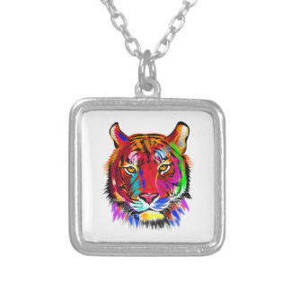 Cat of many colors silver plated necklace
