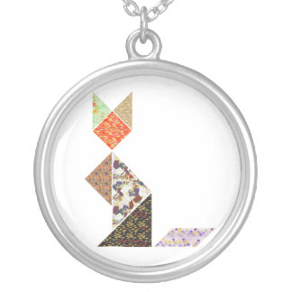 Cat of Tangram Silver Plated Necklace
