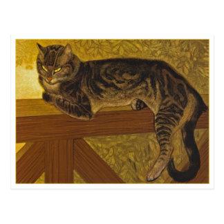 Cat on a Balustrade by Steinlen Postcard