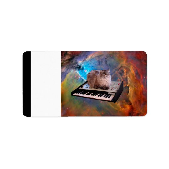 Cat on a Keyboard in Space Label