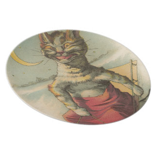 Cat on a Sled Plates