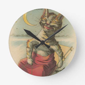 Cat on a Sled Wallclocks