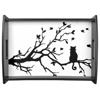 Cat on a tree - Silhouette Serving Tray