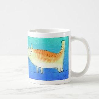 Cat on a wire basic white mug