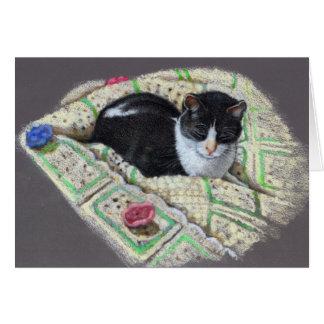 CAT ON AFGHAN: ORIGINAL ART CARD