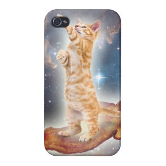 Cat on bacon in space iPhone case Case For iPhone 4