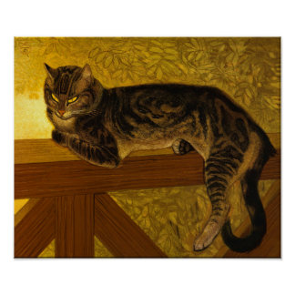 Cat on Balustrade Poster
