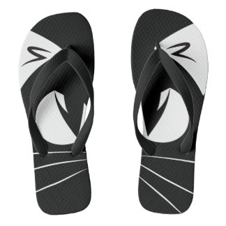 CAT ON BLACK FLIP FLOPS