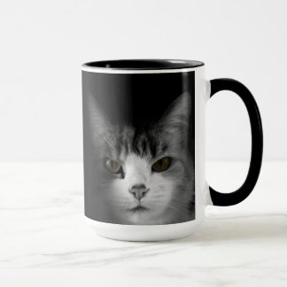 Cat on Black Mug
